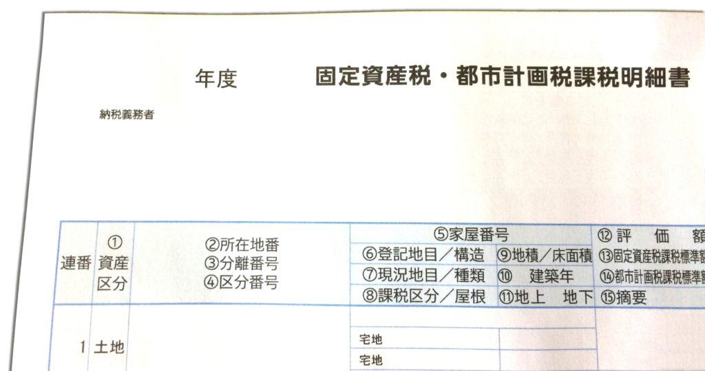 固定資産税・都市計画税 課税明細書